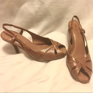 Forth & Towne Brown Faux Snakeskin Leather Heel 6